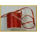 Tasiemka satynowa czerwona ze złotym brzegiem 3mm/ 4mb