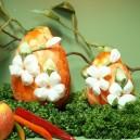 Jajko kraszanka kwiatowa pomarańczowa + białe kwiatki 15cm