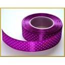 Tasiemka ozdobna w kropki 25mm jasno fioletowa/ rolka 22m