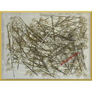 Szpilki z perłową główką białe 4 mm 144 szt.
