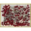 Szpilki z perłową główką czerwone 4 mm 144 szt.