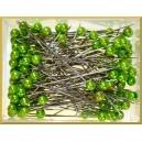 Szpilki z perłową główką zielone 6 mm 144 szt.