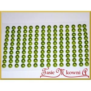 Perełki samoprzylepne 6mm jasno zielone perłowe 140szt