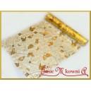 Organza złota z nadrukiem złotych motyli 36cm/4,5m