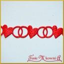 Brokatowe serca czerwone z obrączkami