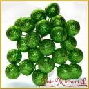 Brokatowe kuleczki na druciku zielone 12szt.
