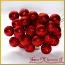 Brokatowe kuleczki na druciku czerwone 12szt.