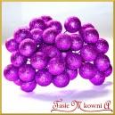 Brokatowe kuleczki na druciku fioletowe 12szt.