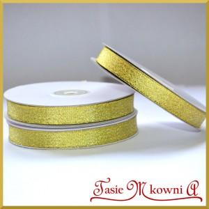 WSTĄŻKA brokatowa złota 12mm