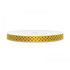 Tasiemka ozdobna w kropki 6mm żółta 25mb