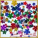 Cekiny metaliczne mix kształtów - stokrotki, kwiatki karbowane, gwiazdki 14g