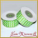 Tasiemka rypsowa z nadrukiem zielone jabłuszko 25mm/10mb