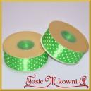 Tasiemka satynowa jasna zielona w białe kropki 25mm/20mb - PROMOCJA