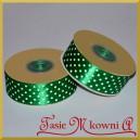 Tasiemka satynowa ciemna zielona w białe kropki 25mm/20mb - PROMOCJA