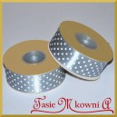 Tasiemka satynowa szara w białe kropki 25mm/20mb - PROMOCJA
