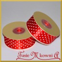 Tasiemka satynowa czerwona w białe kropki 25mm/20mb - PROMOCJA