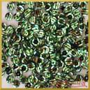 Cekiny 6mm 12g. srebrne z zielonymi paskami