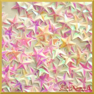 Cekiny gwiazdki wypukłe białe opalizujące  17g
