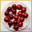 Bombki szklane matowo-błyszczące czerwone 3cm/18szt.