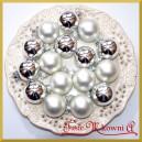 Bombki szklane matowo-błyszczące srebrne 3cm/18szt.