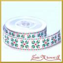 Taśma rypsowa biała w śnieżynki zielone 25mm/1mb