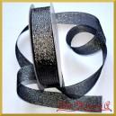 WSTĄŻKA brokatowa KOLOROWA 25mm grafitowa ze srebrnym brokatem