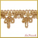 Taśma dekoracyjna kokardka złota z przeszyciem 1mb