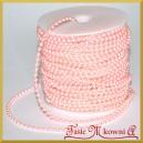 Perełki na sznurku różowe perłowe 4mm/1mb