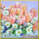 Serwetka do decoupage bukiet - tulipany i stokrotki
