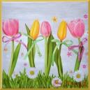 Serwetka do decoupage tulipany na trawie