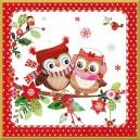 Serwetka do decoupage Sowy Świąteczne