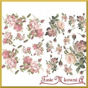 Papier do decoupage KLASYCZNY A4  D0414M-róże