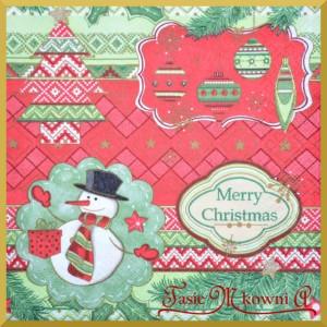 Serwetka do decoupage bałwanek Merry Christmas 20szt