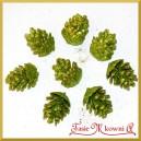 Szyszki brokatowe zielone 3cm/8szt.