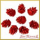 Szyszki brokatowe czerwone 3cm/8szt.