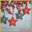 Serwetka do decoupage szare i czerwone gwiazdki w kropki 1szt