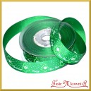 Tasiemka RYPSOWA zielona choinki  20mm/9mb