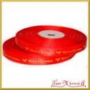 Tasiemka SATYNOWA czerwona ze złotym napisem Merry Christmas 10mm/10mb