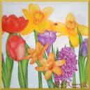 Serwetka do decoupage żonkile tulipany hiacynty