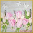 Serwetka do decoupage różowe tulipany białe motyle