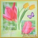 Serwetka do decoupage kolorowe tulipany i motyle