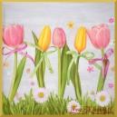 Serwetka do decoupage żółto-różowe tulipany