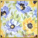 Serwetka do decoupage kwiatki niebieskie żółte