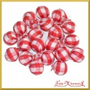 Kuleczki styropianowe w materiałowej osłonce czerwone w białą kratkę 20szt.