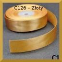 Tasiemka satynowa 25mm kolor C126 Złota