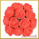 CZERWONE różyczki z pianki 2,5cm 12szt.