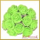 ZIELONE różyczki z pianki 2,5cm 12szt.