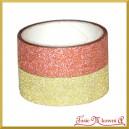 Zestaw taśm brokatowych złota i czerwona 1,5cm/3mb