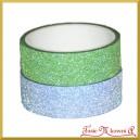 Zestaw taśm brokatowych zielona i ciemno szara 1,5cm/3mb