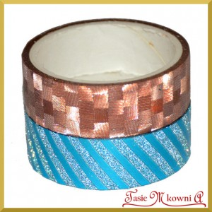 Zestaw taśm metalicznych brązowe kwiatki/niebieskie prążki 1,5cm/3mb